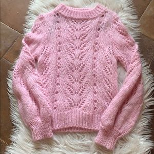 H&M Pink Crochet spring sweater Size XS